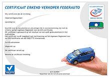 Certificaat afgeleverde door Vinçotte