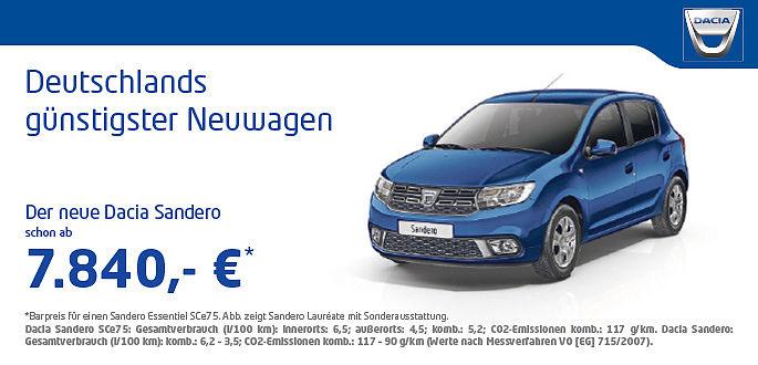 Dacia Sandero Essentiel im Autohaus Boden in Essen und Mülheim
