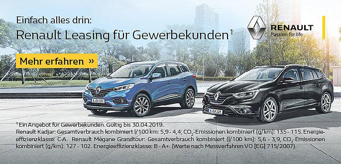 Angebote mit Renault Business Leasing im Autohaus Boden in Esssen un Mülheim für Handwerk und Gewerbekunden.
